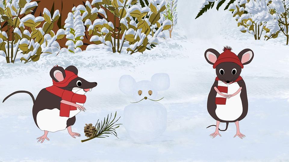 myši v zimě